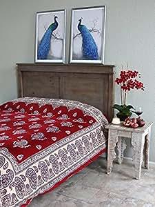 Dancing Paisleys ~ Paisley Print Kashmir Red King Bedspread108x90