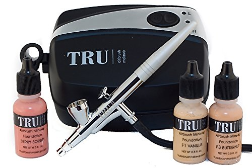 TRU Airbrush Cosmetics Mineral Makeup System Basic Kit-Light/Medium Skin Tone 5 piece makeup kit Tru-kitbslgmd