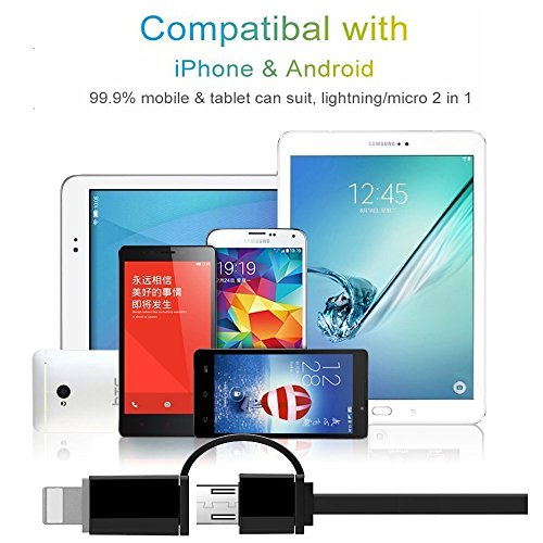2en 1Lightning y Micro USB Cable retráctil, cafele 1m/3.3ft Handy retráctil Lightning y Micro USB de carga y sincronización de datos cable adaptador para iOS (8/9/10) y Android teléfonos móviles y  Matte Deep blue