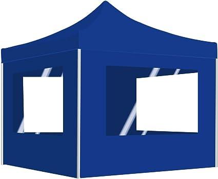 vidaXL Carpa Plegable Profesional con Paredes Aluminio Cenador Pagoda Jardín Pérgola Fiestas Celebraciones Estructuras Recintos Parasoles 3x3 m Azul: Amazon.es: Hogar