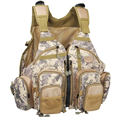 AnglerDream Fly Fishing Pack Outdoor Sports Mesh Vest Pack/Chest Pack/Sling Pack/Back Pack Universal Adjustable Fishing Hunting Hiking Fishing Pack Storage Compartments