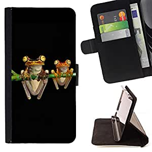 For LG G4 H815 H810 F500L Frogs Art Night Black Drawing Cartoon Green Style PU Leather Case Wallet Flip Stand Flap Closure Cover