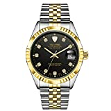 MonkeyJack Tevise Men's Luxury Fashionable Business Dress Automatic Mechanical Analog Wrist Watch - Black & Gold, As described