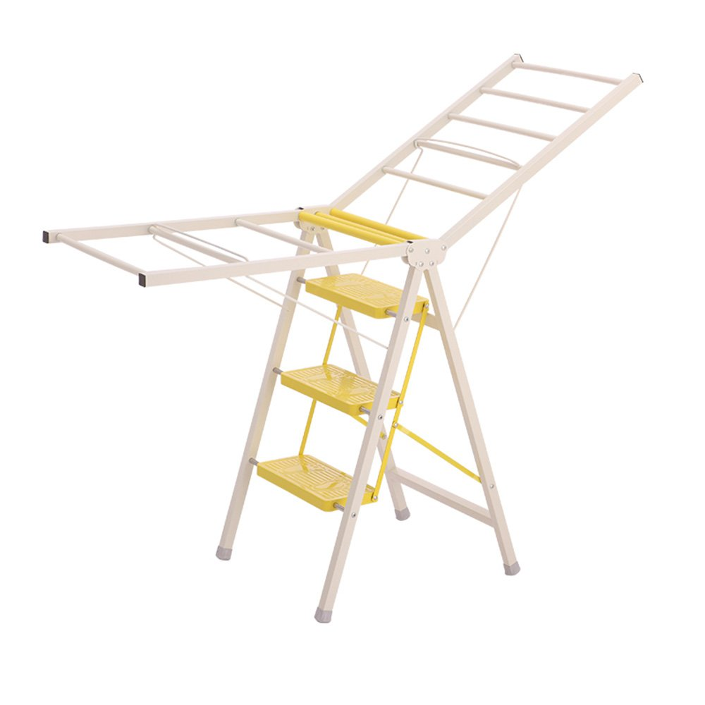 Yellow 5085.5CM QFFL tideng Step Stool Home Floor Type Folding Ladder Multifunctional Clothes Hanger Indoor Dual-use Step Stool (color   PINK, Size   50  105CM)