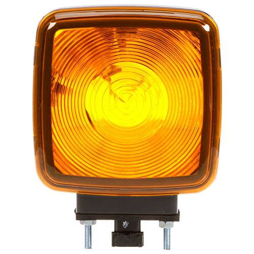 Truck-Lite 5800AA Incandescent Light (Signal-Stat 5800 Series Yellow Square Dual Face, Side Marker, 1 Bulb, 3 Wire, Pedestal Light, 2 Stud, Black, Stripped End)