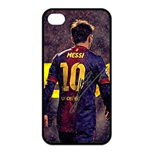 Barcelona Messi iPhone 4 Case Athlete & Sports Stars Series Protective Case Cover for iPhone 4 & 4S - 1 Pack - Messi(Black)
