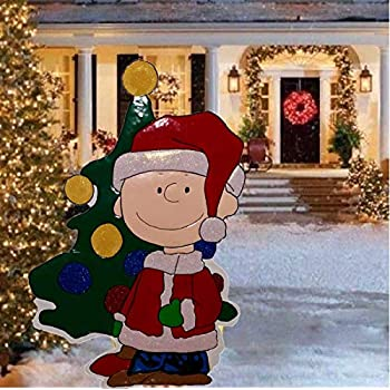tisyourseason 42 inch peanuts hammered metal charlie brown with christmas tree christmas decoration