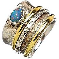 Anillos de plata de banda ancha para mujer,Ethiopian Opal Spinner Ring, Three Band Ring, Anxiety Ring, Sterling Silver…