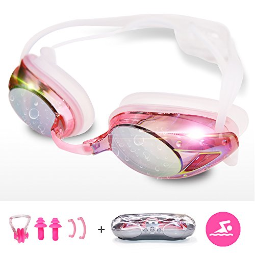 Anmier Swim Goggle, Anti-fog UV Protection No Leaking Swimming Goggles with Silicone Nose Clip Ear Plugs and Protection Case, Comfortable Fit For Adults, Women, Youth, Kids - Pink