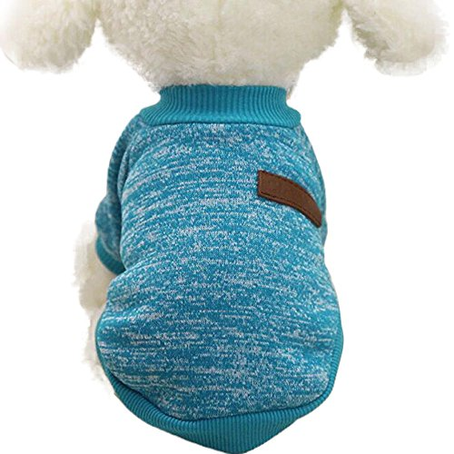 Farjing 8 Color Pet Sweater , Classic Puppy Fleece Sweater Clothes Warm Sweater Winter(L,Blue]()