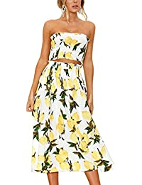 Women's Floral Crop Top Maxi Skirt Set 2 Piece Outfit Dress