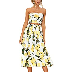 Angashion Women's Floral Crop Top Maxi Skirt Set 2 Piece Outfit Dress