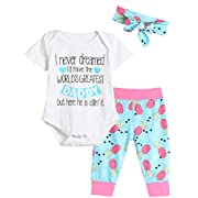 Giwawa Outfit Set Baby Girls Happy Father's Day Pant Clothing Set (Pink, 0-3 Months)
