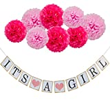 Coobey IT'S A Girl Bunting Banner Decoration Flags Tissue Paper Flower for Party Photo Props Baby Shower Decorations