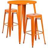 Flash Furniture 30'' Round Orange Metal Indoor-Outdoor Bar Table Set with 2 Square Seat Backless Stools