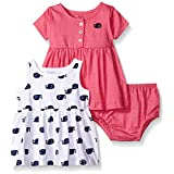 Gerber Baby Three-Piece Dress and Diaper Cover Set, Whales/Exclusive, 24 Months
