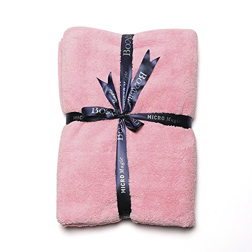 """BONDRE Luxury Soft Microfiber Bath Towel , Extra Large Size 55""""X 27.5"""", Excellent Water Absorbent, Antistatic Quick Dry For Body, Shower/ Yoga/ Swimming/ Exercising (pink)"""