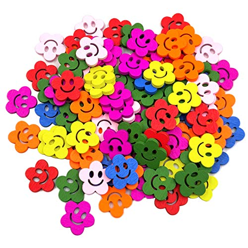 (Fenfangxilas Smile Face Buttons for Jeans Pants, 100Pcs Beautiful Smile Face Flower Wooden Buttons Sewing Scrapbook Cards Craft DIY Decor Random Color)