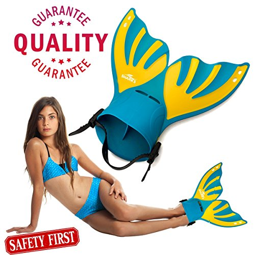 Sharks Wear Mermaid mono-fin for children with adjustable strap. (Male Mermaid Halloween Costumes)
