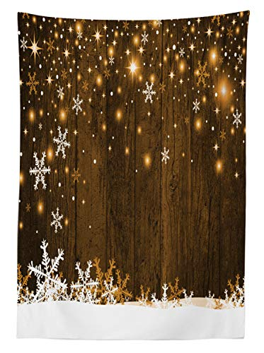 """Ambesonne Christmas Tablecloth, Rustic Wooden Backdrop with Snowflakes and Warm Traditional Celebration Print, Dining Room Kitchen Rectangular Table Cover, 52"""" X 70"""", White Brown"""