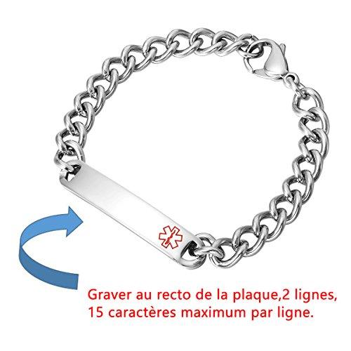 HOUSWEETY Bracelet Gourmette d'Identification Lien Poignet Plaque Medaille Alerte Medicale + Gravure Personnalisee Offre