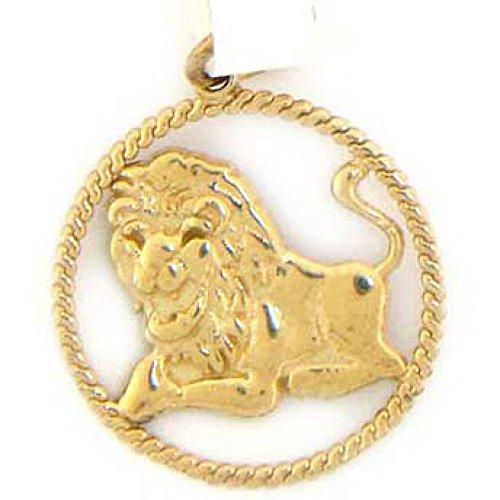 14k Solid Yellow Gold Leo Zodiac Charm - Charm Leo Pendant