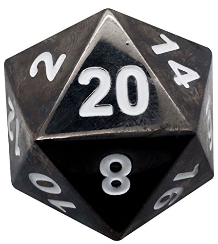 mySimple Products Custom & Unique {Jumbo Massive Huge XXL 45mm} 1 Ct Single Unit Set of 20 Sided [D20] Icosigon Shape Playing & Game Dice Made of Metal w/ Simple Classy Chrome Design [Black & White]