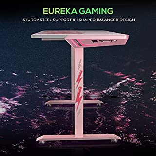 """EUREKA ERGONOMIC I1-S Gaming Desk 43.3"""" Small Home Office Computer PC Desks with Cute Cat Paw Mousepad, T-Shaped Computing & Writing Tables, Popular Gift for Girl/Female/E-Sports Lover (Pink)"""
