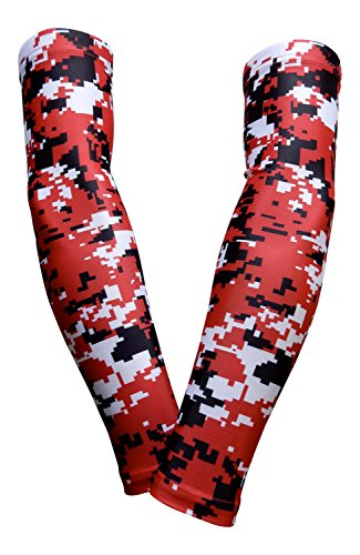 PAIR - Sports Farm - Compression Elbow Arm Sleeves (YOUTH LARGE, RED BLACK DIGI CAMO) (Red Digi Camo)