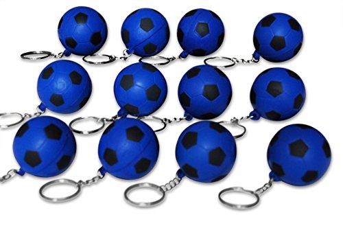 Novel Merk 12 Pack Blue Soccer Ball Keychains for Kids Party Favors & School Carnival Prizes by Novel Merk