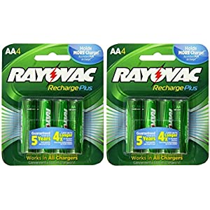 Rayovac Recharge Plus AA 2400mAh NiMH Rechargeable Batteries 8 Pack