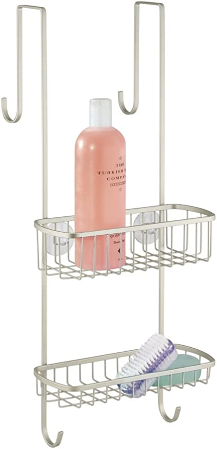 mDesign Organizador de ducha para colgar sobre la mampara – Práctico estante para ducha de acero inoxidable – Cesta de ducha sin taladro para los productos de higiene personal – satinado: Amazon.es: Hogar