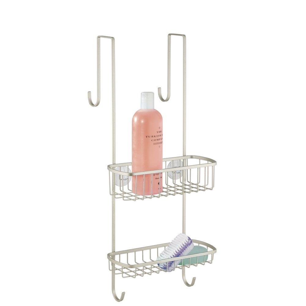 Mdesign organizador de ducha para colgar sobre la mampara for Accesorios ducha sin taladro