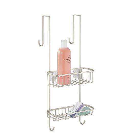 mDesign Organizador de ducha para colgar sobre la mampara – Práctico estante para ducha de acero inoxidable – Cesta de ducha sin taladro para los ...