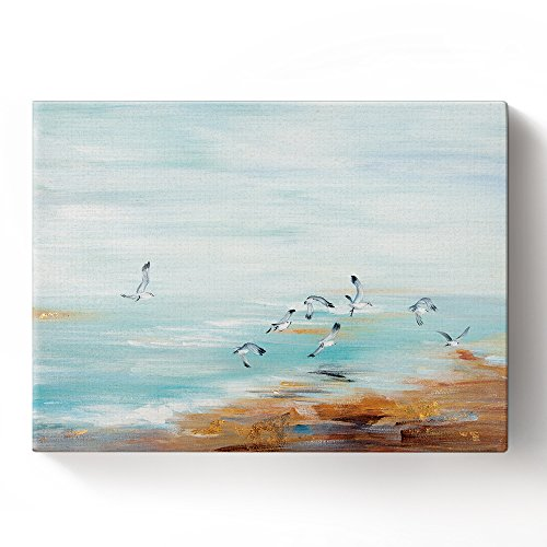 BABE MAPS Canvas Wall Decor Artwork Ready Hang 100% Hand Painted Oil Painting Seaside Landscape with Gulls Painting with Stretched Frame Painting on Canvas Home Decorations 8x12 in