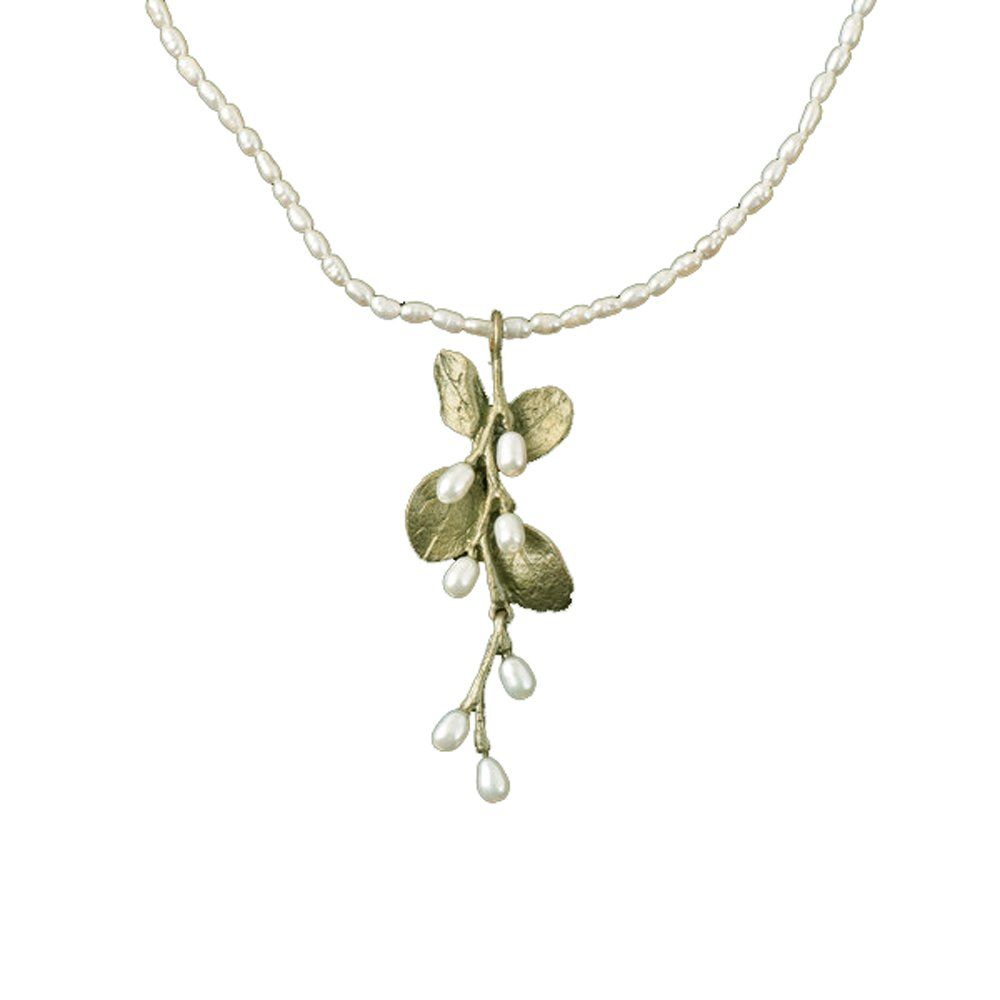 ''Irish Thorn'' Pearl Spray Pendant Necklace by Michael Michaud for Silver Seasons…