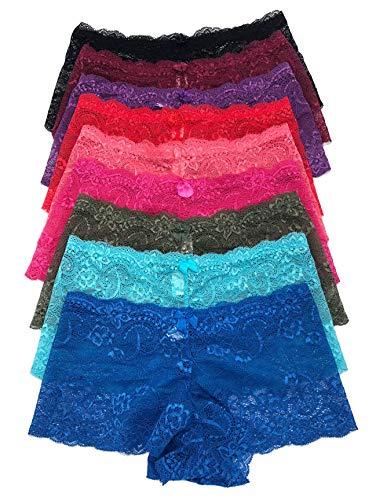 (Iheyi 12 Pieces Women's Sexy Boxer Hipter Boyshort Lace Boyshorts Panty Underwear (Large))