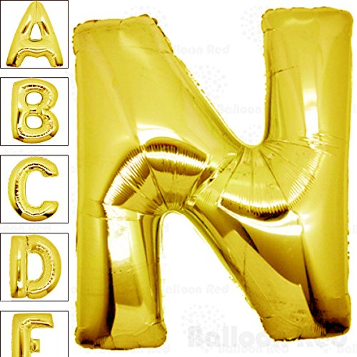 40 Inch Giant Jumbo Helium Foil Mylar Balloons for Party Decorations (Premium Quality), Glossy Gold, Letter N