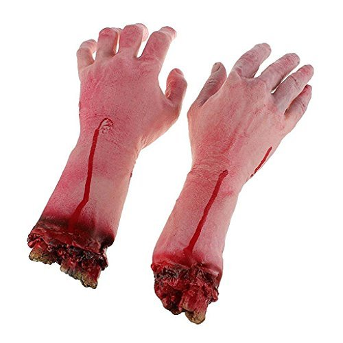 2PCS Severed Hand Halloween Body Parts Zombie Skinned Bloody Fake Lifesize Arm Hand Cosplay Prop Deter Creepy Bloody Hand Walking (Life Size Severed Hand)