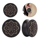 Jirachayastore Pair Black Wood Lotus Flower Saddle Ear Plugs Tunnels Earlets Expanders Piercing