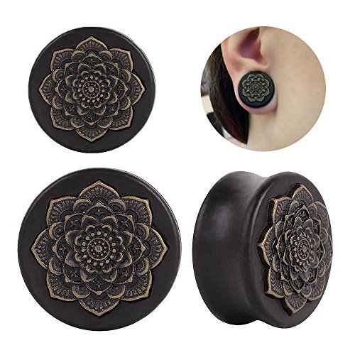 Jirachayastore Pair Black Wood Lotus Flower Saddle Ear Plugs Tunnels Earlets Expanders Piercing