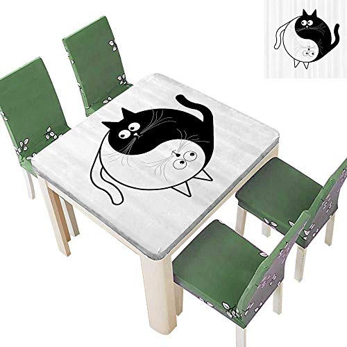 - SpillProof Tablecloth Cute Cats Cuddle Hugging Unity Ying Yang Sign Carto Animals Asian Feng Shui for Picnic,Outdoor or Indoor 52 x 52 Inch