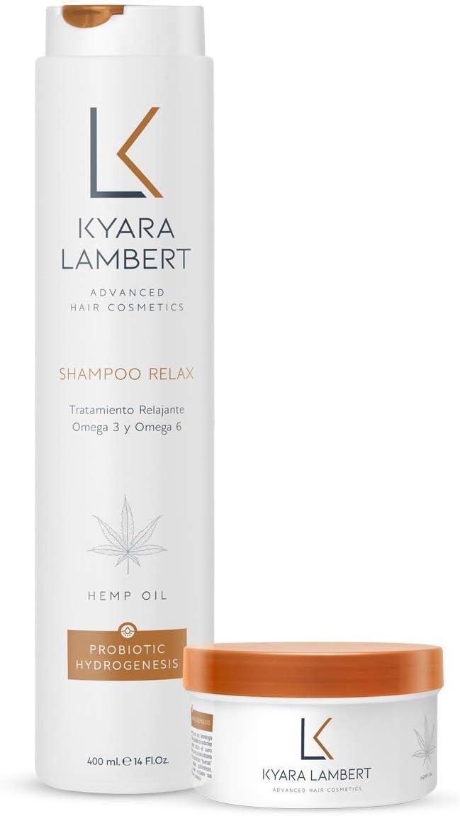 Kyara Lambert - Pack Relax | ACEITE de SEMILLA de CANNABIS | Tratamiento Relajante Extracto de Cáñamo y Omega 3 y 6 | Reparador Profesional con Activos Naturales. 400ml y 280ml