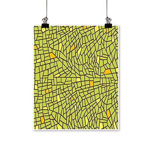 Modern Painting Conceptual Stained Glass Design Mosaic Pavement Cracked Like Pieces Green Orange Yellow Artwork for Home Decorations,32