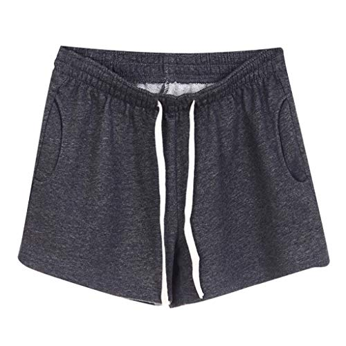 (Women Short Pants, JOYFEEL ❤️ Ladies Cotton Linen Casual Elastic Waist Pants Drawstring Solid Summer Walking Shorts Dark)