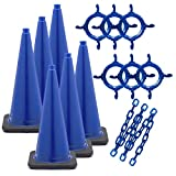 Mr. Chain Traffic Cone and Chain Kit, Blue, 28-Inch Height (93206-6)