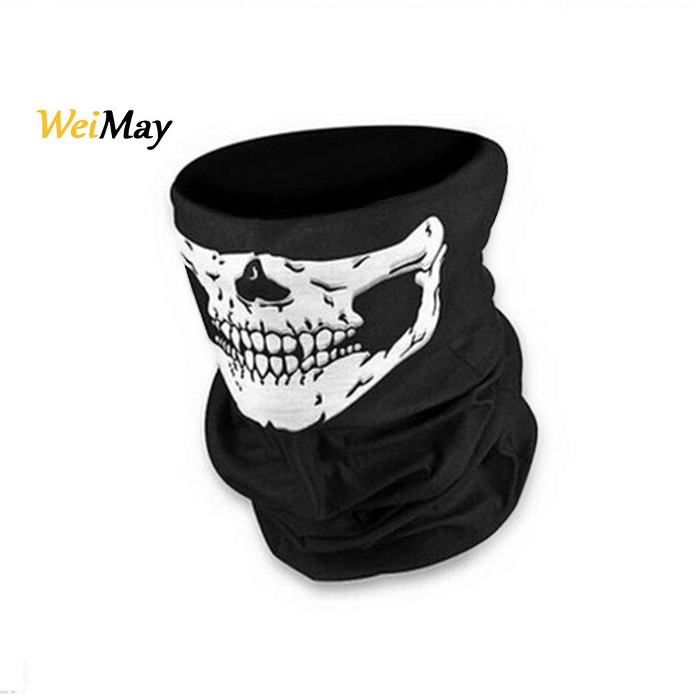 Weimay má scara de calavera negro media cara estirable a prueba de viento má scara bandana diadema bufanda para actividades de moto al aire libre