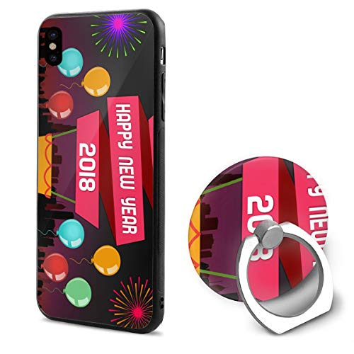 iPhone X Case Happy-New-Year-Wallpaper with Ring Holder 360 Degree Rotating Stand Grip Mounts Slim Soft Protective Cover ()