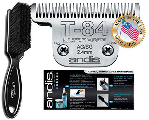 Andis Equine UltraEdge T-84 Extra Wide Horse Blade for Detachable Blade Clippers Leaves Hairs 3/32 - 2.4mm with Bonus Clening Brush
