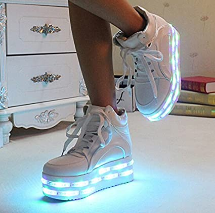 f869c2797a43 PU leather WHITE high heel led shoes platform shoes with multicolors led  strips sneaker(US size 8 for women